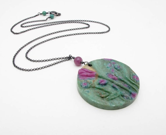 "gemstone pendant necklace, carved ruby in fuchsite, ruby, turquoise and sterling silver - LONG chain ""Monet"""