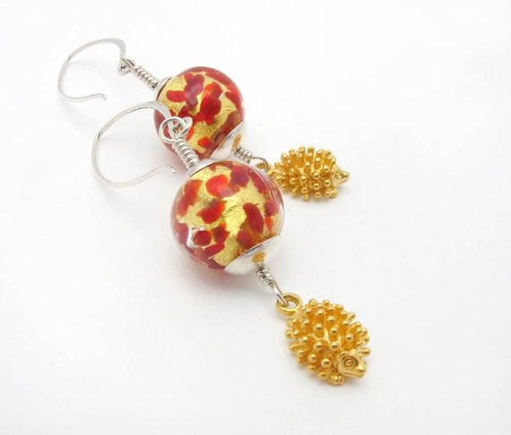 Hedgehog dangle earrings - red and gold Murano handmade glass beads - sterling silver over sized ear wires