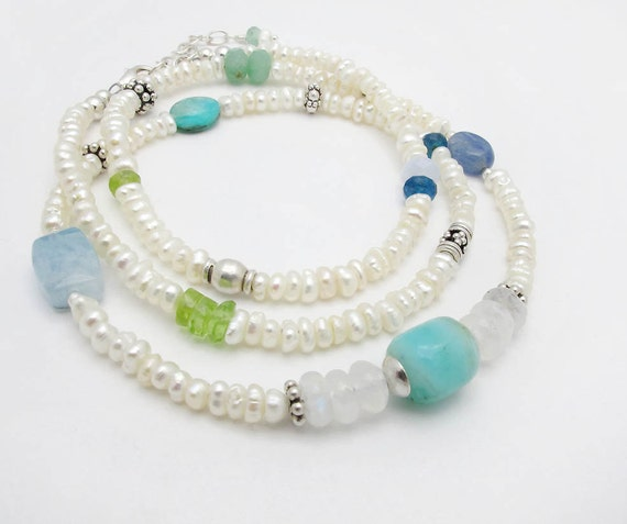 fresh water pearl and mixed gemstones of Peruvian opal, apatite, peridot and moonstone with sterling silver