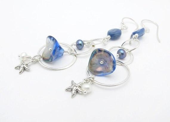 blue earrings, nautical earrings, dangle earrings, long earrings, starfish charms, trumpet flower earrings, sterling silver, resort earrings