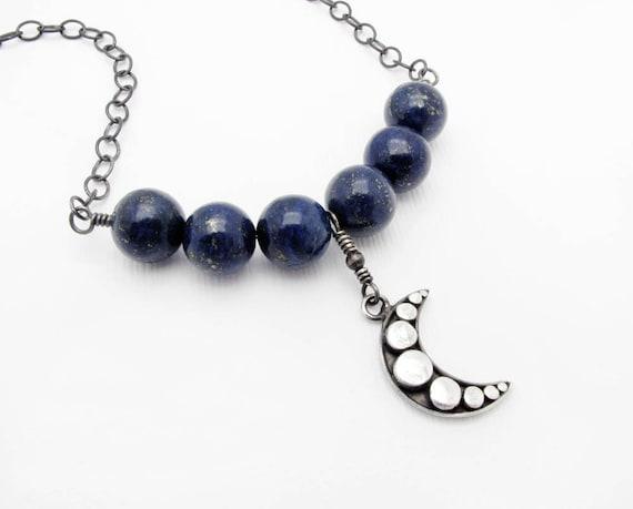 lapis necklace gemstone necklace blue lapis necklace blue stone necklace boho necklace celestial inspired necklace moon necklace CIJ