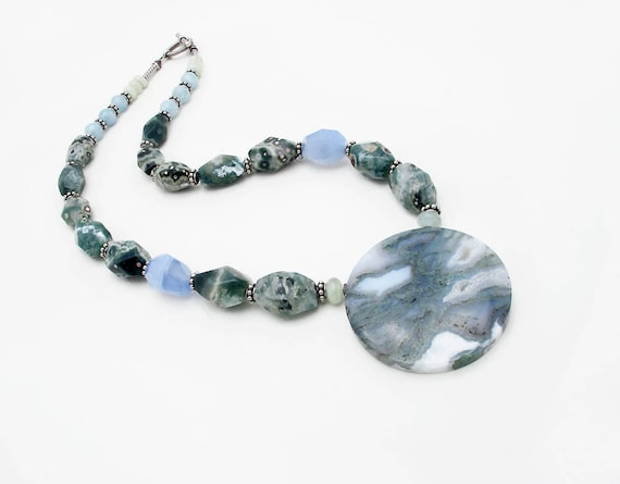 gemstone necklace druzy pendant ocean jasper necklace druzy pendant necklace aquamarine statement necklace chunky stone necklace
