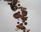 CHOCOLATE Beaded Brown and Copper Hair Vine and Silk Flowers and Glass Pearls and Crystals