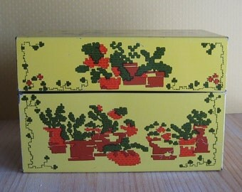Yellow recipe box by Syndicate with flowers kickstandproductions on etsy