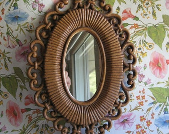 Oval mirror by Homco Syroco 70s groovy KickstandProductions