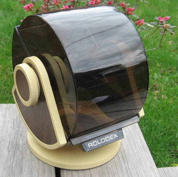 Large ROLODEX telephone card file faux wood grain smokey cover