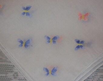 Cutest Pink & Blue Embroidered BUTTERFLIES Vintage Hankie Hanky Handkerchief