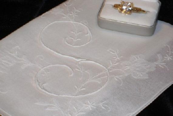 S Initial Monogram Handkerchief Hankie Regal White for Bride Weddings