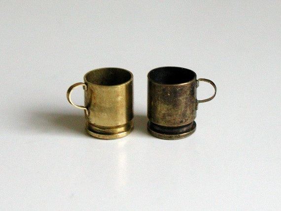 1 mini brass mug (made from bullet casing), 1/12 scale dollhouse miniature