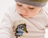 Organic Baby One-Piece featuring Seahorse screenprint