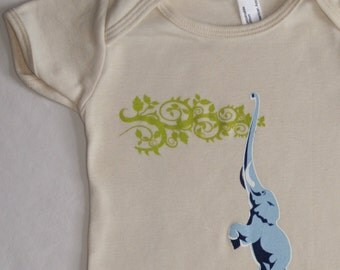 Organic Baby One-Piece featuring Elephant