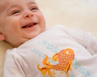 Organic Baby Bodysuit featuring Japanese Koi Fish