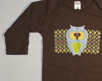 Baby one piece bodysuit  featuring Funky Owl - brown, long sleeve