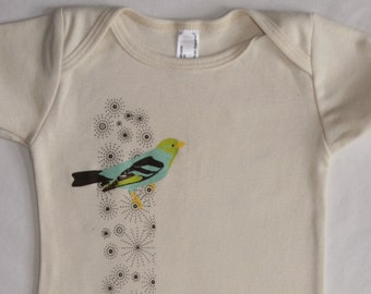 Bird on Sparkles Organic Baby One-Piece