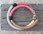 mixed media pink, white, and salmon tube necklace