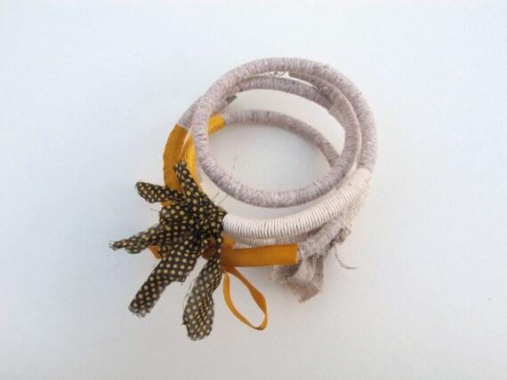 yellow bracelet, white bracelet, off white bracelet, polka dots bracelet, alternative bracelet, mixed media bracelet, textile jewelry