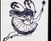 Ballet FAIRY with WAND - Magical Tutu Cute Ballerina Princess - Mounted Rubber Stamp