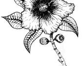 Unmounted Rubber Stamp Magnolia Flower - Floral Pretty Southern