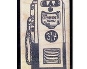 Mounted Rubber Stamp Retro - vintage style GAS PUMP - Automobilia Rt 66 Car Kulture