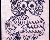 Mounted Rubber Stamp 1960s - 1970s Pop Art Style - OWL