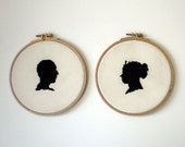 The Lovers embroidered portraits