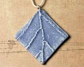 Leaf relief pendant faux ceramic