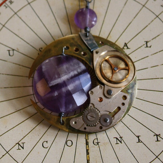 Chronisthysia Necklace in Brass, Sterling, Amethyst, and Watch-Parts