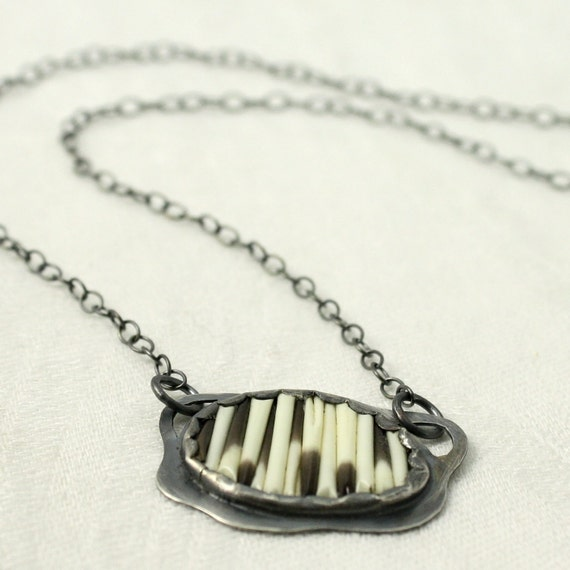 Quilled Cloud Necklace in Sterling and Porcupine Quills