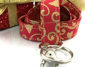 Christmas Lanyard with Gold Hearts and Scrolls