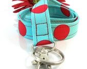 Key Lanyard in Retro Turquoise Red Polka Dots