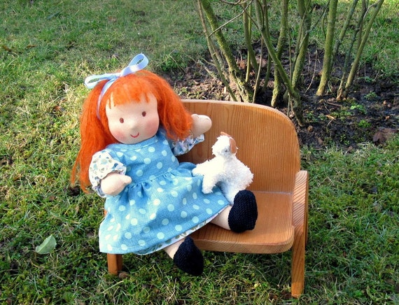 Red-haired Waldorf Doll, 13 inch, with lamb
