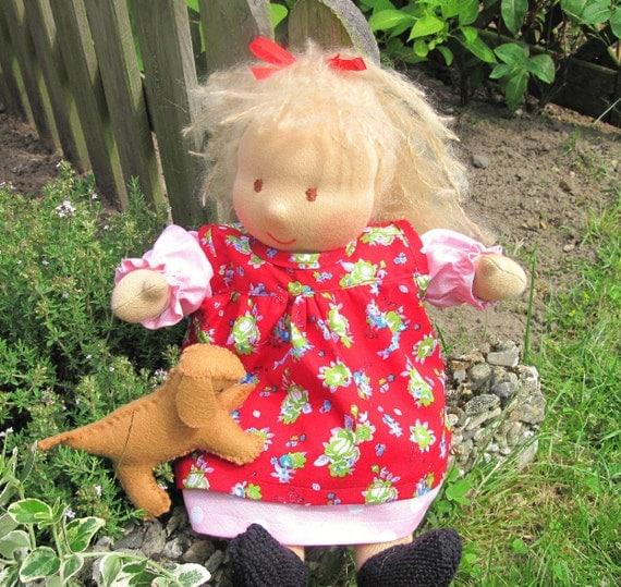 Blond Waldorf Doll, 13 inch, with doggie