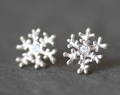 Snowflake Stud Earrings in Stering Silver and White Sapphire