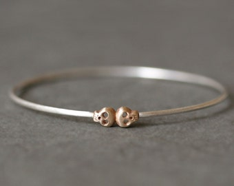 Skull Bangle in Sterling Silver and 14K Gold