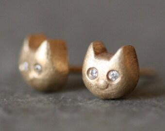 Baby Kitten Stud Earrings With Diamonds in 14K Gold