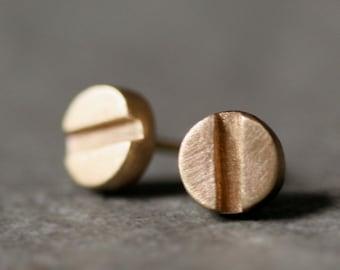 Screw Head Stud Earrings in 14K Gold