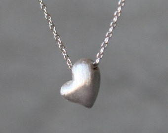 Puffy Heart Necklace in Sterling Silver