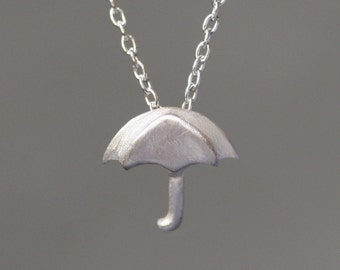 Tiny Umbrella Pendant in Sterling Silver
