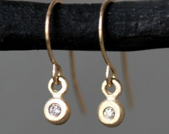 Tiny Button Drop Earrings in 14k Gold with Diamonds