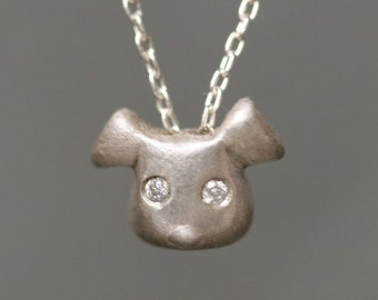 Puppy Necklace in Sterling Silver with Diamonds