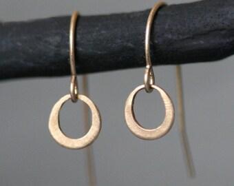 Tiny Ring Earrings in 14K Gold