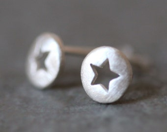 Star Cutout Stud Earrings in Sterling Silver