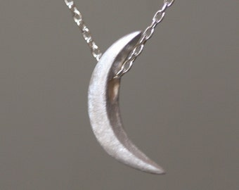 Crescent Moon Necklace in Sterling Silver