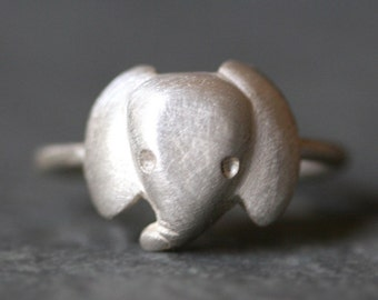 Baby Elephant Ring in Sterling Silver