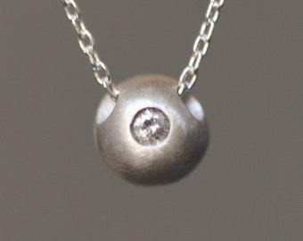 Solitaire Diamond Ball Necklace in Sterling Silver
