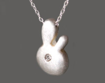 Bunny Pendant Necklace in Sterling Silver with Diamond