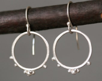 Small Beaded Circle Earrings in Sterlng Silver