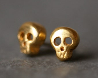 Baby Skull Earrings in Gold Plate