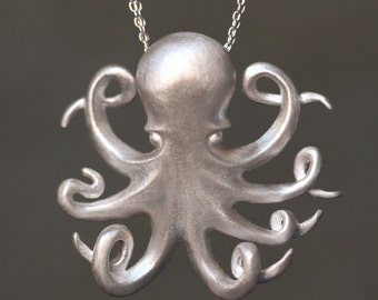 Long Octopus Necklace in Sterling Silver