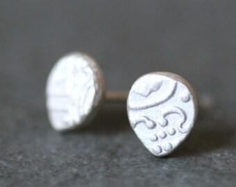 Teardrop Byzantine Stud Earrings in Sterling Silver